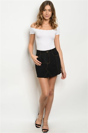 S24-1-3-S80727 BLACK DENIM SKIRT 3-2-1