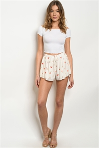 S22-11-4-S80210 WHITE FLORAL SHORTS 1-2-2-1