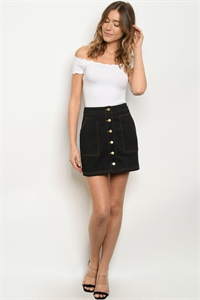 S22-11-4-S82299 BLACK DENIM SKIRT 3-2-1