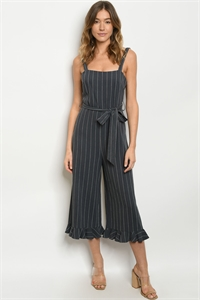 S24-2-2-J60183 CHARCOAL STRIPES JUMPSUIT 1-2-2-1