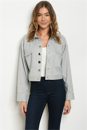 S23-2-1-J70160 BLUE CHECKERED JACKET 1-2-2-1