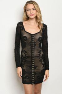S10-19-2-D30189 BLACK NUDE DRESS 3-2-1