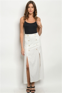 S13-5-1-S50139 IVORY STRIPES SKIRT 1-2-2-1