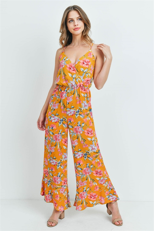 C60-A-2-J6706 MUSTARD WITH FLOWER PRINT JUMPSUIT 3-2-1