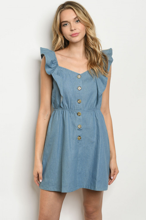 S25-3-2-D42800 BLUE DENIM DRESS 3-2-1