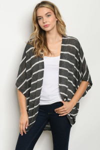 S24-1-2-C9052 BLACK WHITE STRIPES CARDIGAN 2-2-2