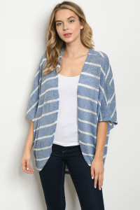 S14-3-2-C9052 BLUE WHITE STRIPES CARDIGAN 2-2-2
