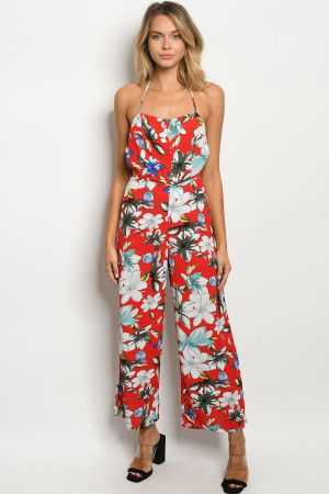 S17-2-3-J8228 RED FLORAL JUMPSUIT 1-1-1