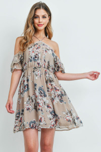 S9-1-3-D8147 TAUPE FLORAL DRESS 2-2-2