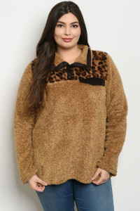 S11-3-1-S12985X BROWN LEOPARD PRINT PLUS SIZE SWEATER 2-2-2
