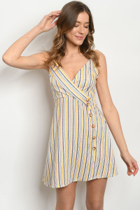 S20-2-2-D6890 YELLOW NAVY STRIPES DRESS 2-2-2