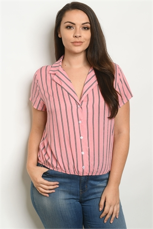 S19-5-2-T10102X PINK STRIPES PLUS SIZE TOP 2-2-2