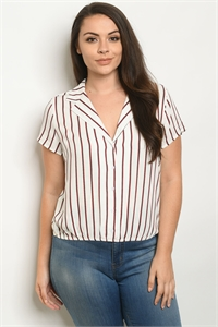 S20-10-2-T10102X OFF WHITE STRIPES PLUS SIZE TOP 3-2-2
