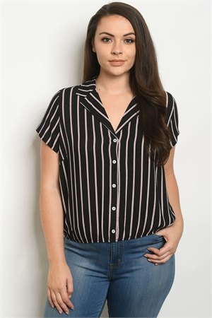 S17-10-6-T10102X BLACK STRIPES PLUS SIZE TOP 1-1-1