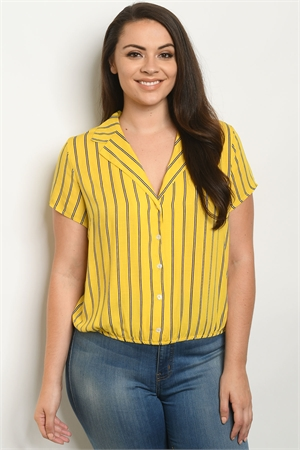 S17-10-6-T10102X YELLOW STRIPES PLUS SIZE TOP 1-1-1