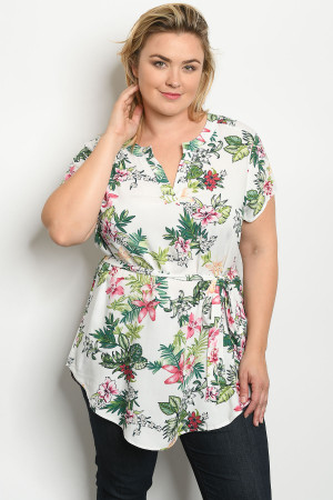 S16-10-3-T10268X OFF WHITE FLORAL PLUS SIZE TOP 2-2-2