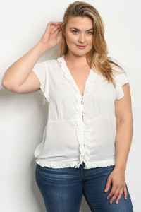 S16-10-2-T10184X WHITE PLUS SIZE TOP 2-2-2