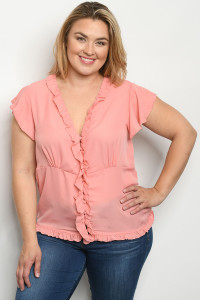 S16-10-2-T10184X CORAL PLUS SIZE TOP 2-2-2
