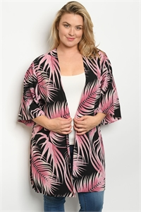 C40-A-3-C09502X BLACK PINK PLUS SIZE CARDIGAN 2-2-2
