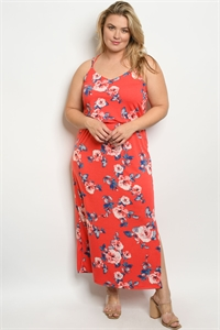 C35-A-6-D10357X RED FLORAL PLUS SIZE DRESS 2-2-2