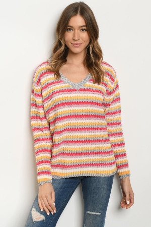S13-4-2-S013 YELLOW MULTI SWEATER 3-2-1