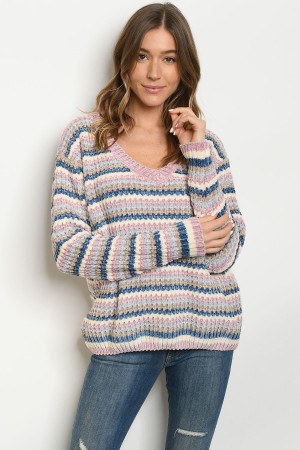 S15-3-2-S013 MAUVE MULTI SWEATER 3-2-1