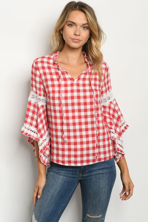 S6-10-2-T88039 RED WHITE CHECKERED TOP 2-2-2