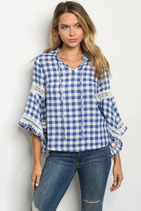S2-4-1-T88039 BLUE WHITE CHECKERED TOP 2-2-2