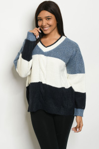 S8-8-2-S0037 BLUE IVORY SWEATER 3-2-1