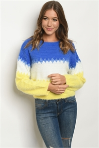 S9-2-3-S2573 BLUE YELLOW SWEATER 3-2-1