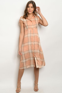 S15-11-4-D15679 ORANGE CHECKERED DRESS 2-2-2