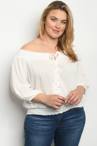 S24-8-4-T9313X WHITE PLUS SIZE TOP 2-2-2