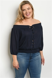 S24-8-4-T9313X NAVY PLUS SIZE TOP 2-2-2
