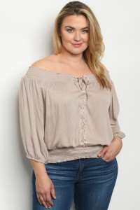 S23-11-2-T9313X TAUPE PLUS SIZE TOP 2-2-2