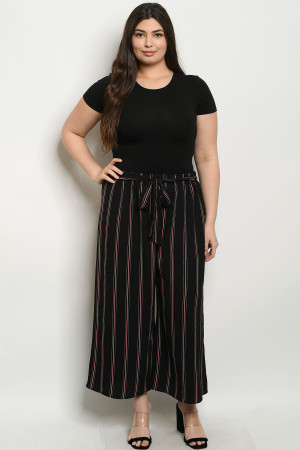 C28-A-3-P9574X BLACK STRIPES PLUS SIZE PANTS 2-2-2
