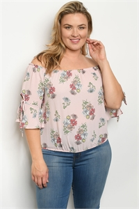 S22-12-1-T9526X BLUSH FLORAL PLUS SIZE TOP 2-2-2
