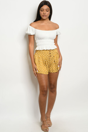 S23-11-3-S28126 MUSTARD IVORY WITH DOTS SHORTS 2-2-2