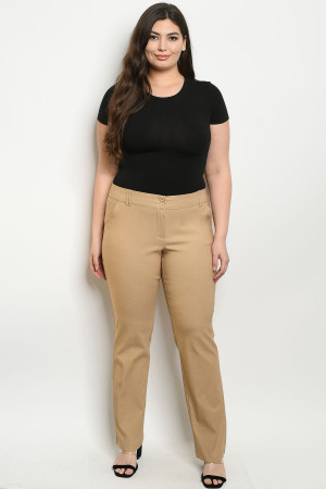 S11-19-4-P0760X BEIGE PLUS SIZE PANTS 2-2-2
