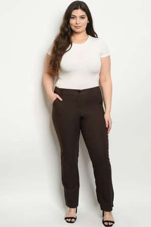 S25-6-4-P0760X BROWN PLUS SIZE PANTS 2-2-2