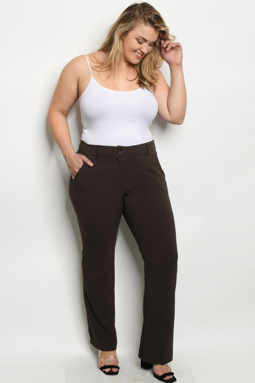 S9-3-1-P0694X BROWN PLUS SIZE PANTS 2-2-2