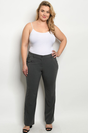 S9-3-1-P0694X GREY PLUS SIZE PANTS 2-2-2