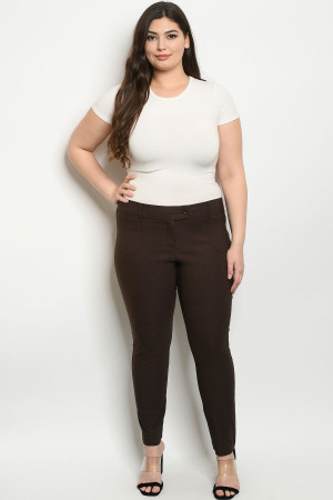 S21-11-2-P0700X BROWN PLUS SIZE PANTS 2-2-2