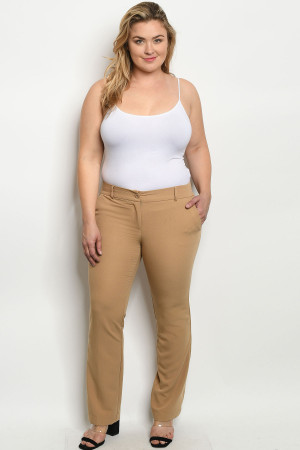 S22-13-5-P0920X BEIGE PLUS SIZE PANTS 2-2-2