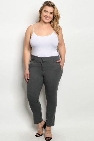 S11-3-1-P1842X GREY PLUS SIZE PANTS 2-2-2
