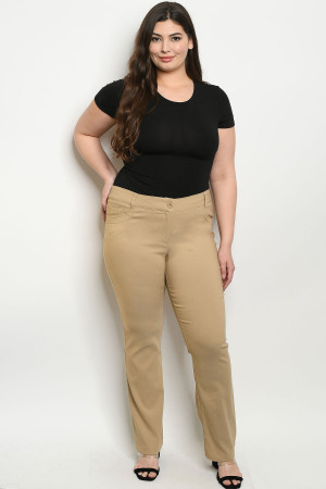 S19-10-1-P0774X KHAKI PLUS SIZE PANTS 3PCS