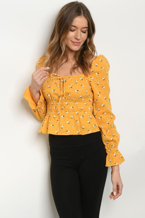 S11-12-3-T547 YELLOW FLORAL TOP 3-2-1