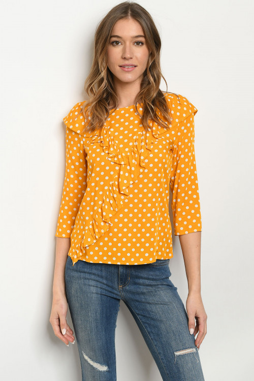 S12-12-1-T2259 MUSTARD WITH DOTS TOP 2-2-2