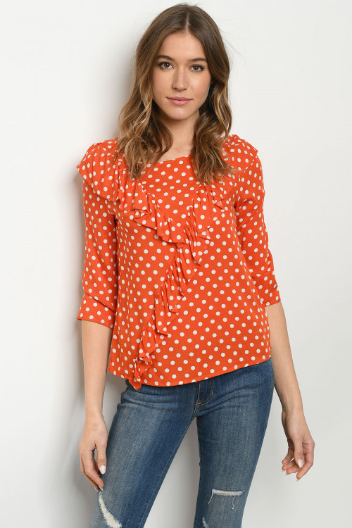 S12-12-1-T2259 ORANGE WITH DOTS TOP 2-2-2