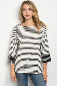 S11-15-2-T8485 WHITE BLACK STRIPES TOP 2-2-2
