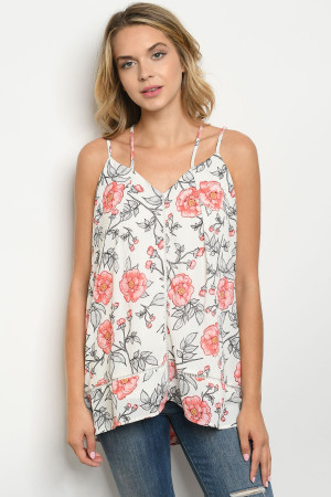 S11-12-4-T8979 WHITE FLORAL TOP 2-2-2